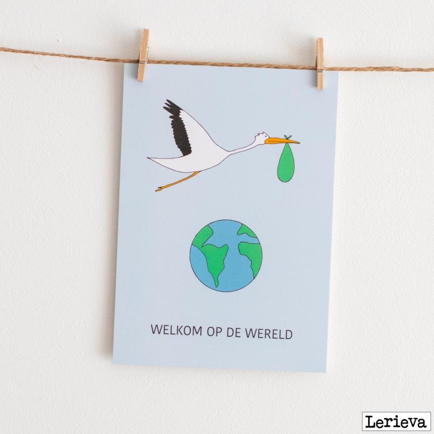 Lerieva welkom op de wereld postkaart aan de muur